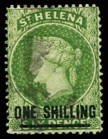 Lot 24884:1864-80 Wmk Crown/CC Surcharges Perf 14 SG #30 1/- yellow green Type B, 12.
