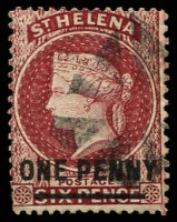 Lot 24881:1864-80 Wmk Crown/CC Surcharges Perf 14x12½ SG #21 1d lake Type B, 15.
