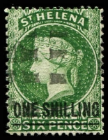 Lot 24882:1864-80 Wmk Crown/CC Surcharges Perf 14x12½ SG #26 1/- deep green Type C, 24.