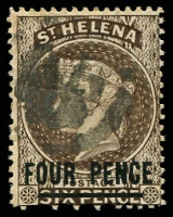 Lot 24887:1884-94 QV Wmk Crown/CA Perf 14 SG #43c 4d sepia, Cat £17.