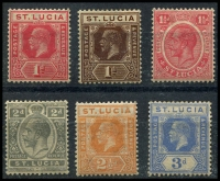 Lot 27809 [2 of 2]:1921-30 KGV Wmk Script CA SG #92-5,97,99a,101 1d to 4d excl 2½d blues & 3d purple/yellow, Cat £44. (7)