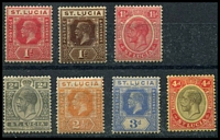 Lot 27809 [1 of 2]:1921-30 KGV Wmk Script CA SG #92-5,97,99a,101 1d to 4d excl 2½d blues & 3d purple/yellow, Cat £44. (7)