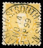 Lot 4432:1895 King George II SG #35a 7½d yellow, with very fine 'ELIZABETH ST SOUTH/NO14/1899/N.S.W