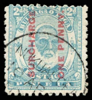 Lot 4429:1895 Surcharges SG #25 1d on 2d pale blue, Cat £40.