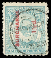 Lot 28846:1895 Surcharges SG #26 1½d on 2d pale blue, Cat £50.