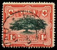 Lot 4433:1897 Pictorials Wmk Turtles SG #39a 1d Ovava Tree Wmk sideways