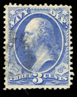 Lot 4731:1873 Navy: Sc #O37 3c ultramarine, Cat $15.