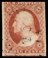 Lot 28758:1851-57 Imperfs Sc #10 3c deep orange-brown type I 3-margins, Cat $210.