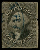 Lot 4694:1851 Imperf New Designs Sc #17 12c grey-black 4 close to touching margins, faults, Cat $250.