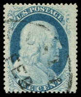Lot 4695:1857-61 Perf 15-15½ Sc #24 1c blue type V, Cat $37.50.