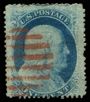 Lot 28760:1857-61 Perf 15-15½ Sc #24 1c blue type V, one pulled perf, Cat $37.50, red bars cancel.