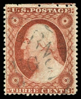 Lot 29168:1857-61 Perf 15-15½ Sc #26 3c brownish carmine, type III with side frames extending through stamp, Cat $21.