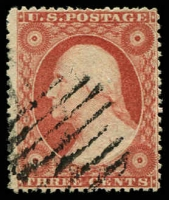 Lot 28762:1857-61 Perf 15-15½ Sc #26 3c red, type III with side frames extending through stamp, Cat $10.