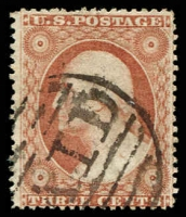 Lot 4699:1857-61 Perf 15-15½ Sc #26 3c orange-brown, type III with side frames extending through stamp, Cat $550.