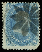 Lot 29171:1861-62 Amended Design Perf 12 Sc #63 1c pale blue, fancy cancel, Cat $45