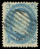 Lot 4479:1861-62 Amended Design Perf 12 Sc #63 1c pale blue, Cat $45