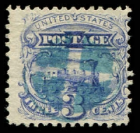 Lot 4718:1869 Pictorials Sc #114 3c train, Cat $16, blue cancel.
