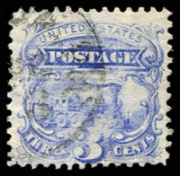Lot 4480:1869 Pictorials Sc #114 3c train, Cat $16.