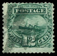 Lot 4481:1869 Pictorials Sc #117 12c green boat, Cat $120.