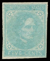 Lot 4771:1862 Jefferson Davis Sc #6 5c light blue, 4-margins,