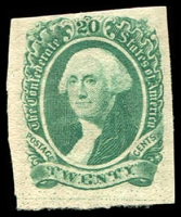 Lot 4773:1863 Washington Sc #13 20c green, 4-margins, Cat $28 as MNG