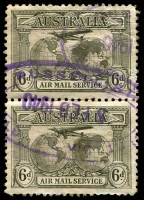 Lot 17104:Russell Street: - WWW #50B violet double-oval 'RUSSELL ST./5FEB1940/[ME]LB[., C.1.] VIC[. AUST.]' (date inverted - LRD) on 6d sepia KSmith pair. Rare  PO 6/11/1924; replaced by 236 Bourke Street PO 2/11/1992.