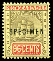 Lot 20430:1905-07 Ship Wmk Multi Crown/CA SG #250s 96c black & vermilion/lemon optd 'SPECIMEN', Cat £40.