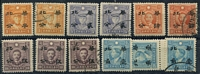 Lot 3329 [2 of 2]:1942 Hwa Pei Opts Martyr Issues SG #111-27 range Hong Kong No Wmk ½c on 1c x2 (mint x1), 2c on 4c x2 (mint x1), 4c on 8c x2 (mint x1), 5c on 10c x3 (mint x2), 10c on 20c x3 (mint x2), 20c 0n 40c & 25c on 50c; Hong Kong Wmk 1c on 2c x2 (mint x1), 5c on 10c, 20c on 40c x2 (mint x1), 25c on 50c mint, Cat £55. (20)