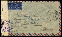 Lot 3300 [2 of 2]:1948 (Oct 11) air cover from Pieping to Berlin (British Sector) with $5,000 vermilion-& green block of 8, $2,000 red-brown & blue & $500 on $20 green, censor reseal at left tied by violet 'BRITISH CENSORSHIP/[crown]/5036/GERMANY'.