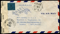 Lot 3301 [2 of 2]:1948 (Oct 21) air cover from Pieping to Berlin (British Sector) with $5,000 vermilion-& green block of 4, $1,000 scarlet & green & $3,000 blue, censor reseal at left tied by 'BRITISH CENSORSHIP/[crown]/5107/GERMANY'.