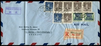 Lot 3302 [1 of 2]:1949 (Apr 26) registered air cover from Shanghai to West Berlin with $2,000 on $300 Revenue pair, $1,000 blue (#1167) x2 & $10,000 grey-brown (#1170) x5, creased at left.