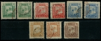 Lot 3927:1894 Smoke Tower SG #6-10 3½d red QEII to 5c (all by 2 shades) & 10c, presumed to be retouched die, Cat £44. (9)