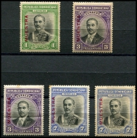 Lot 3682:1933 Trujillo SG #327s-9s set of 3, extra 3c & 7c, all optd 'MUESTRA'. (5)