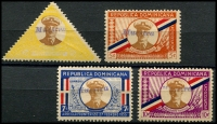 Lot 3687:1935 Frontier Agreemant SG #352s-5s 3c (thinned) to 10c, all handstamped 'MUESTRA'. (4)