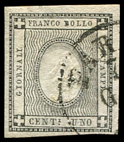 Lot 24682:1861 Embossed Numeral: SG #N62 1c black, 4 margins, Cat £19.