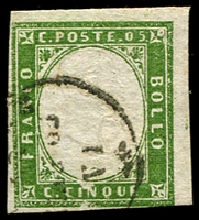 Lot 4308:1855-63 Victor Emmanuel II Embossed With Typographed Coloured Frame SG #28 5c yellowish green 4-margins, Cat £21.
