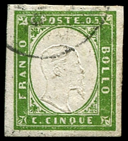 Lot 23777:1855-63 Victor Emmanuel II Embossed With Typographed Coloured Frame SG #28 5c yellowish green 4-margins, Cat £21.
