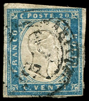 Lot 23782:1855-63 Victor Emmanuel II Embossed With Typographed Coloured Frame SG #44 20c milky blue, 4-margins, 1857 Nizza Maritte cancel, Cat £475.