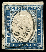 Lot 4313:1855-63 Victor Emmanuel II Embossed With Typographed Coloured Frame SG #45 20c dark blue, 4 margins, Cat £55.