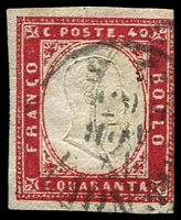 Lot 4314:1855-63 Victor Emmanuel II Embossed With Typographed Coloured Frame SG #54 40c rose-carmine, 3 margins (one just touching), Cat £75.
