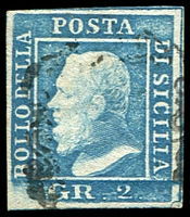 Lot 24748:1859 King Ferdinand II SG #3 2g dull blue 4 margins, Bottom left corner missing, Cat £160.