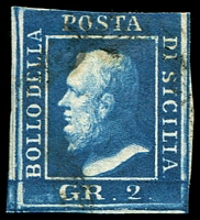 Lot 24751:1859 King Ferdinand II SG #3e 2g deep blue 3 margins, Cat £250.