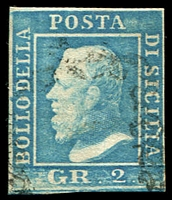 Lot 24750:1859 King Ferdinand II SG #3b 2g pale blue 4 margins, Cat £160.