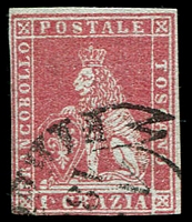 Lot 21952:1851-52 On Coloured Paper SG #8 1c claret/grey, 4 close/touching margins, Cat £130.