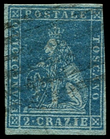 Lot 21953:1851-52 On Coloured Paper SG #11 2c blue/grey, 3½ margins, Cat £150.