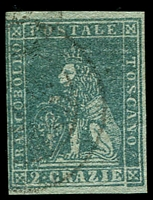 Lot 21954:1851-52 On Coloured Paper SG #12 2c dull blue/grey, 4 good/close margins, Cat £150.