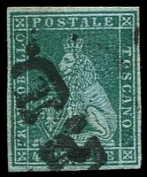 Lot 21955:1851-52 On Coloured Paper SG #13 4c myrtle-green/azure, 4 margins, Cat £300.