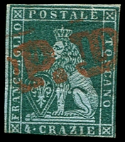 Lot 4317:1851-52 On Coloured Paper SG #13 4c myrtle-green/azure, 3 margins, Cat £300.