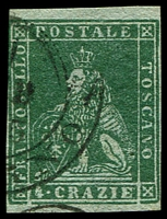 Lot 21956:1851-52 On Coloured Paper SG #14 4c deep green/grey, 4 good/close margins, Cat £160.