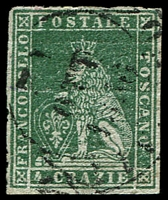 Lot 4318:1851-52 On Coloured Paper SG #14 4c deep green/grey, 4 margins, Cat £160.